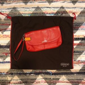 Coach Pebbled Leather Lipstick Red Clutch Wristlet